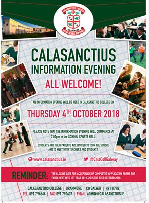 Calasanctius College Open Evening - this Thursday, October 4th