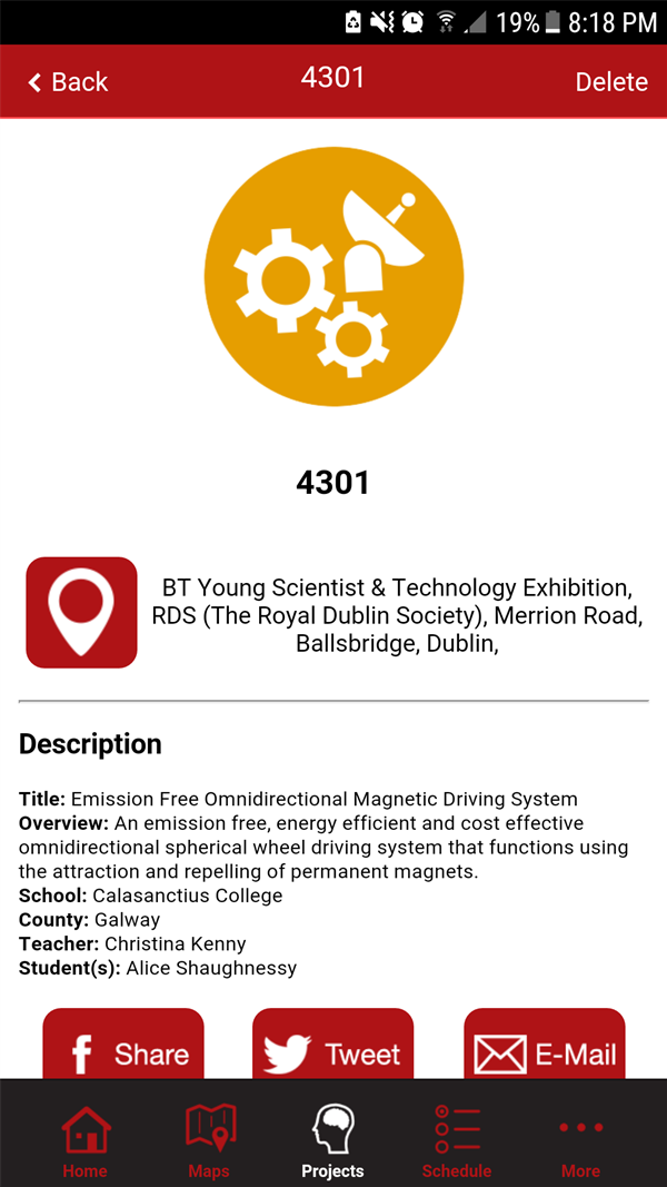 Alice Shaughnessy at the BT Young Scientist Exhibition
