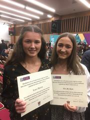 Eve McDaid and Laura Ahearne, recipients of the NUIG Academic Achievement Scholarships 2019.