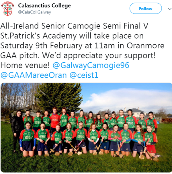 Best of luck to our Senior Camogie team today in the All Ireland Semi Final