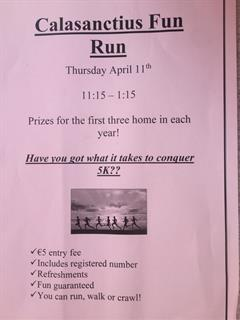 Calasanctius Fun Run, Thursday April 11th!